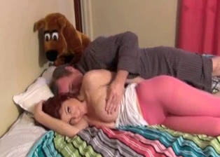 Dad seduces his big-boobed redhead daughter
