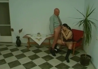 Young babe gives her grandpa a deep blowjob