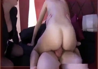 Slender young hoe is jumping on her horny daddy